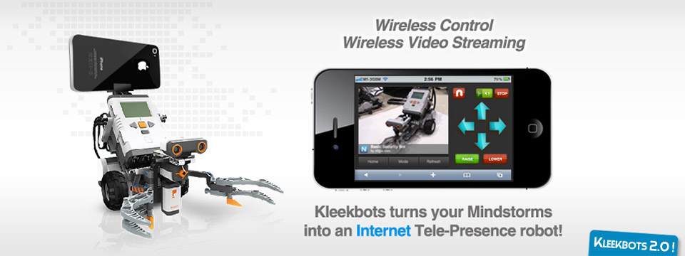 Wireless Control. Wireless Video Streaming. Kleekbots turns your Mindstorms into an Internet Tele-Presence robot!